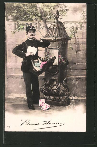 AK Briefträger mit Post in der Tasche