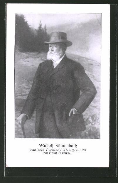 AK Porträt Rudolf Baumbach nach einem Ölgemälde aus dem Jahr 1889