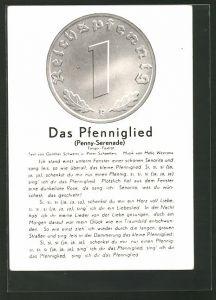 AK Das Pfenniglied, Münze und Liedtext