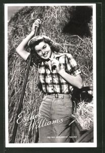 AK Schauspielerin Esther Williams in Hemd und Jeans