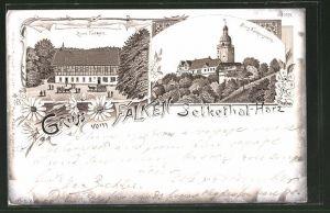 Lithographie Selkethal, Gasthaus zum Falken, Burg Falkenstein