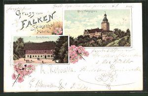 Lithographie Selkethal, Gasthaus zum Falken, Blick zur Burg Falkenstein