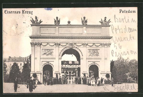 AK Potsdam, Eisernes Kreuz am Brandenburger Tor, Nagelung