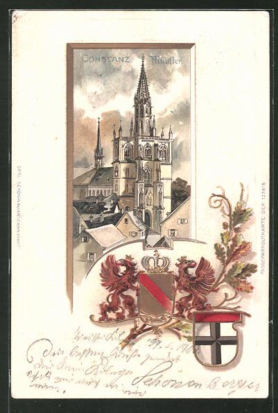 Passepartout-Lithographie Konstanz, Münster, Wappen