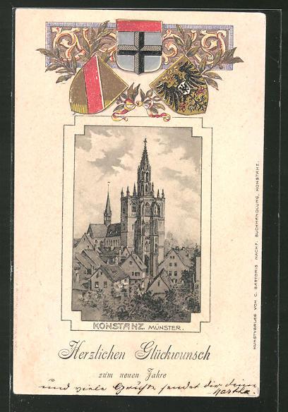 Passepartout-Lithographie Konstanz, Blick zum Münster, Wappen