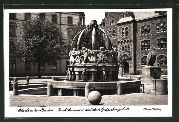 AK Karlsruhe-Baden, Marktbrunnen auf dem Gutenbergplatz