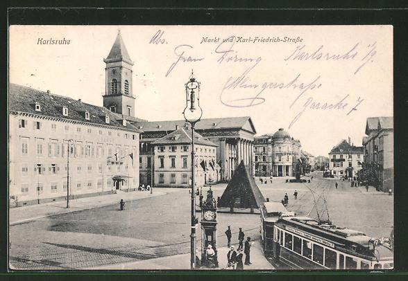AK Karlsruhe, Markt und Karl-Friedrich-Strasse mit Strassenbahn
