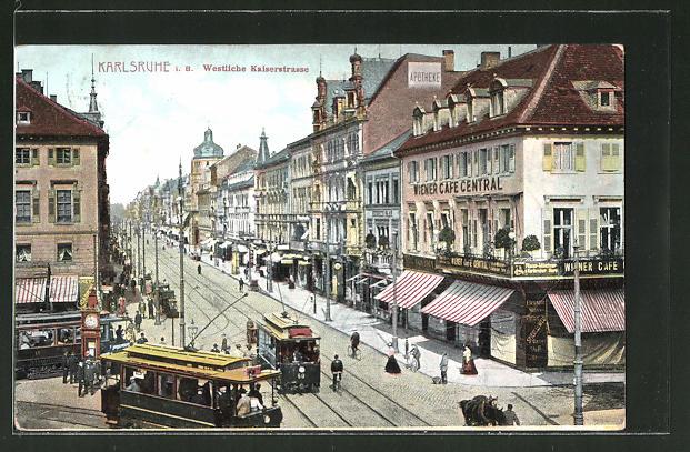 AK Karlsruhe, Westliche Kaiserstrasse mit Wiener Café Central & Strassenbahn