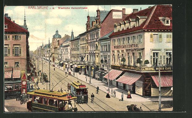 AK Karlsruhe, Westliche Kaiserstrasse mit Strassenbahn & Wiener Café Central