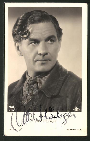 AK Schauspieler Attila Hörbiger zur Seite schauend