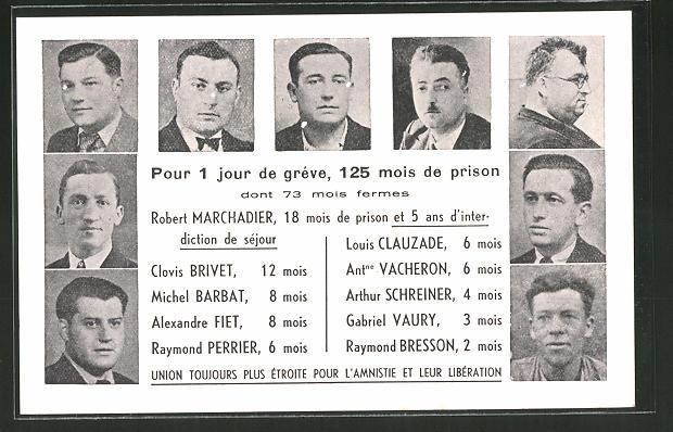 AK Für 1 Tag Streik 125 Monate im Gefängnis, Clovis Brivet, Louis Clauzade