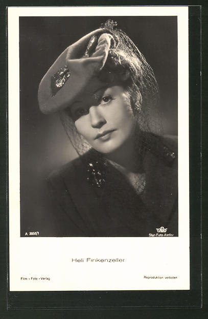 AK Schauspielerin Heli Finkenzeller mit Hut