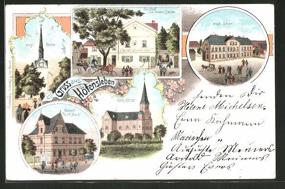 Lithographie Hötensleben, Kaiserliches Postamt, Kath. Kirche, Evang. Kirche, Evang. Schule