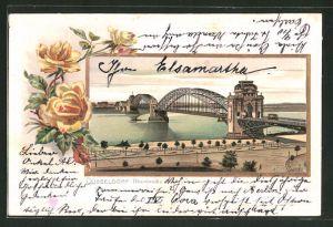Passepartout-Lithographie Düsseldorf, Blick auf die Rheinbrücke
