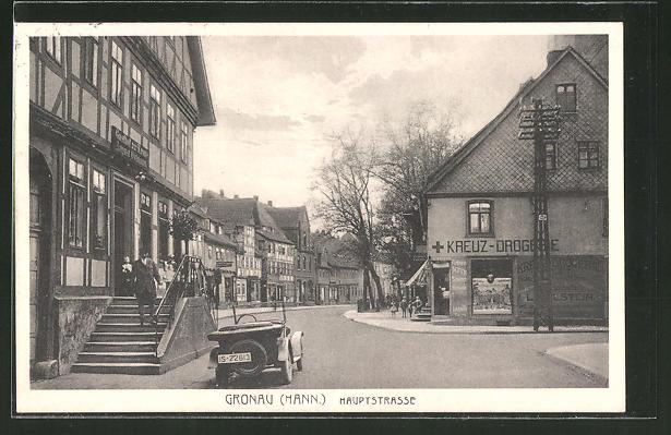 AK Gronau, Hauptstrasse mit Gasthof zur Krone