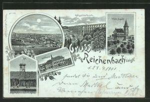 Mondschein-Lithographie Aussichtsturm, Rathaus, Gasthaus Schöne Aussicht