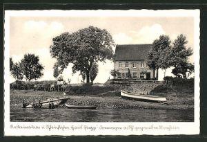 AK Dormagen, Flusspartie mit Restauration und Rheinfähre