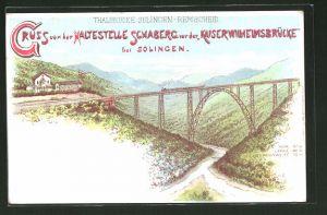 Lithographie Schaberg, Haltestelle vor der Kaiser-Wilhelms-Brücke