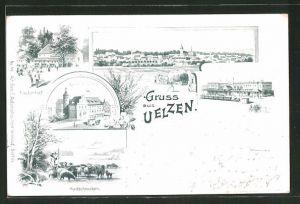Lithographie Uelzen, Haidschnucken, Kaiserl. Postamt, Fischerhof, Bahnhof