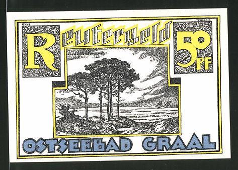 Notgeld Ostseebad Graal 1922, 50 Pfennig, Waldpartie am Meer, Seebrücke