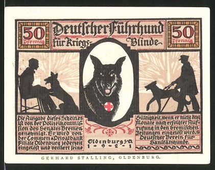 oldenburg niedersachsen 50 pfennig gutschein deutscher fuehrhund fuer kriegsblinde kat. Black Bedroom Furniture Sets. Home Design Ideas
