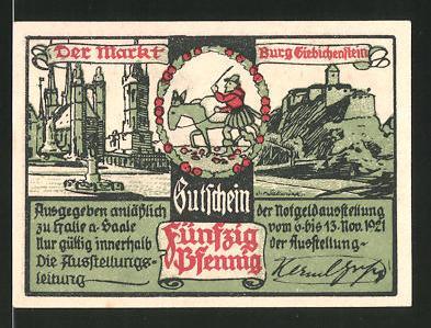 Notgeld Halle an der Saale 1921, 50 Pfennig, Marktplatz und Burg Giebichenstein, Schlacht bei Halle 1806