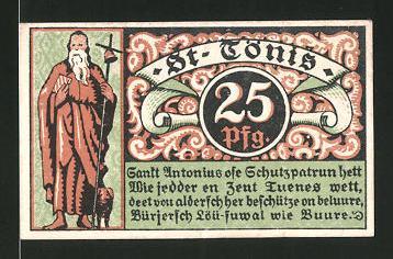 Notgeld St. Tönis 1921, 25 Pfennig, St. Antonius