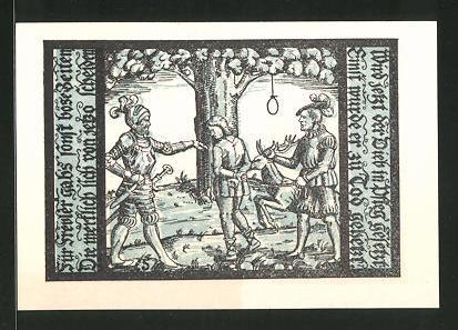 Notgeld Schalkau in Thüringen 1921, 50 Pfennig, Ritter mit Stadtwappen, Gefangener wird hingerichtet