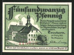 Notgeld Teuchern 1921, 25 Pfennig, Stadtwappen, Rathaus