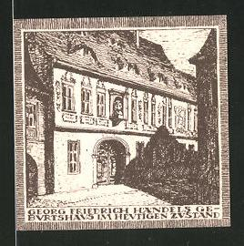 Notgeld Halle an der Saale, 10 Pfennig, Händelhaus