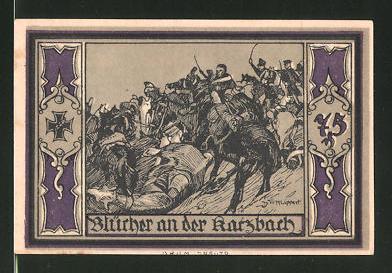 Notgeld Stolp in Pommern, 75 Pfennig, Fürst Blücher-Porträt, Blücher an der Karzbach