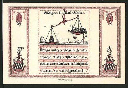 Notgeld Glatz 1921, 100 Pfennig, Kirche, Glatzer Volksliedlein