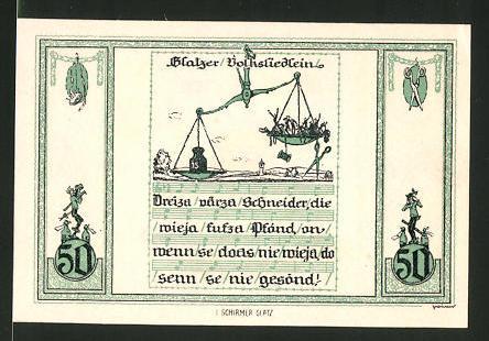 Notgeld Glatz 1921, 50 Pfennig, Kirche, Glatzer Volksliedlein