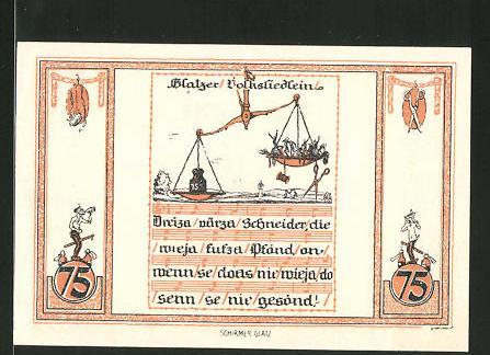 Notgeld Glatz 1921, 75 Pfennig, Kirche, Glatzer Volksliedlein