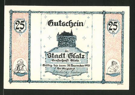 Notgeld Glatz 1921, 25 Pfennig, Kirche, Glatzer Volksliedlein