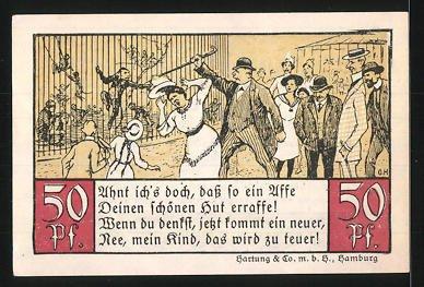 Stehlen Hamburg notgeld hamburg 1921 50 pfennig pelikane affen stehlen hut im