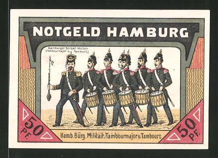 Notgeld Hamburg 1921 50 Pfennig Hamburger Burger Militar Lombardsbrucke