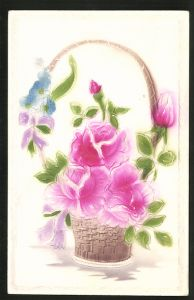 Präge-Airbrush-AK Korb mit roten Rosen