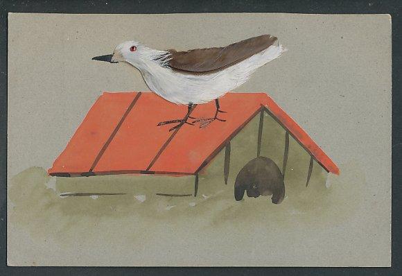 AK Vogel aus Federn auf einem Vogelhäuschen