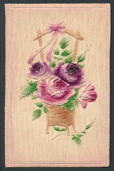 Präge-Airbrush-AK Rote Rosen in einem Korb