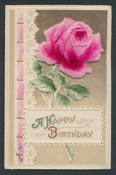 Stoff Prage AK Happy Birthday Rose Aus Filz 0