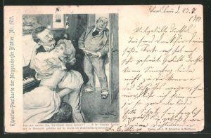 Künstler-AK Meggendorfer Blätter Nr. 503: Aber was machen Sie, Sie küssen meine Tochter?..., Scherz