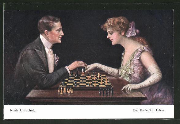 Künstler-AK Ruab Gnischaf: Eine Partie für's Leben, Paar beim Schach