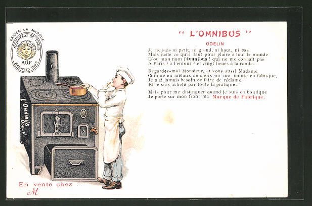 Lithographie L'Omnibus, Odelin, Reklame, Koch am Ofen