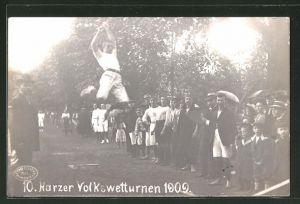 Foto-AK Blankenburg, 10. Harzer Volkswetturnen 1909, Weitsprung