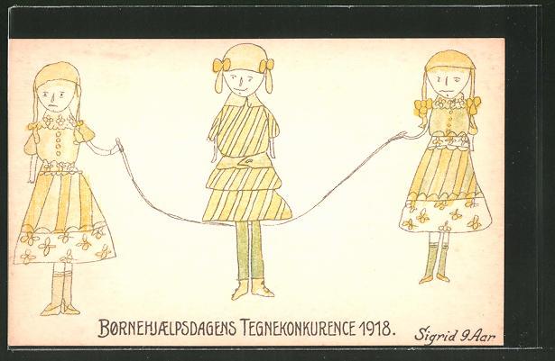 Künstler-AK Bornehjaelpsdagens Tegnekonkurence 1918, Mädchen beim Seilspringen