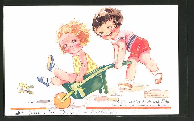 Künstler-AK Agnes Richardson: Mädchen fährt ihre freundin in einer Schubkarre herum