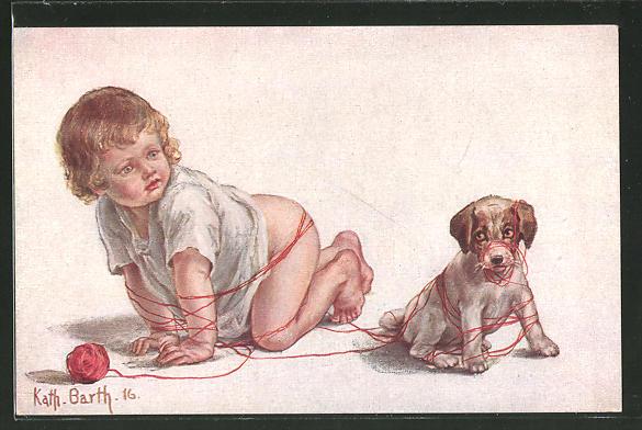 Künstler-AK K. Barth: Kleines Baby und Hund spielen mit einem Wollknäuel
