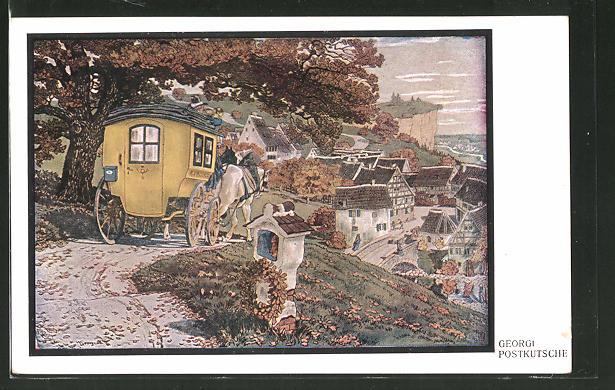 Künstler-AK Walter Georgi: Die Postkutsche am Ortseingang
