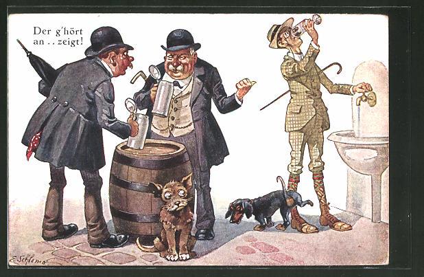 Künstler-AK Ernst Schlemo: Bier trinkende Männer ziehen über einen Wasser trinkenden Mann her, Dackel pinkelt Mann an